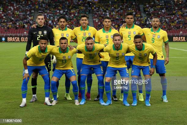 Brazil pose for a team photo before the international friendly match between Brazil and Nigeria at the Singapore National Stadium on October 13 2019...