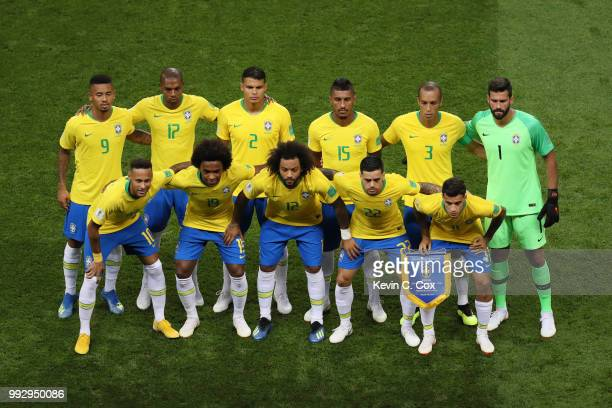 Brazil pose for a team photo prior to prior to the 2018 FIFA World Cup Russia Quarter Final match between Brazil and Belgium at Kazan Arena on July 6...