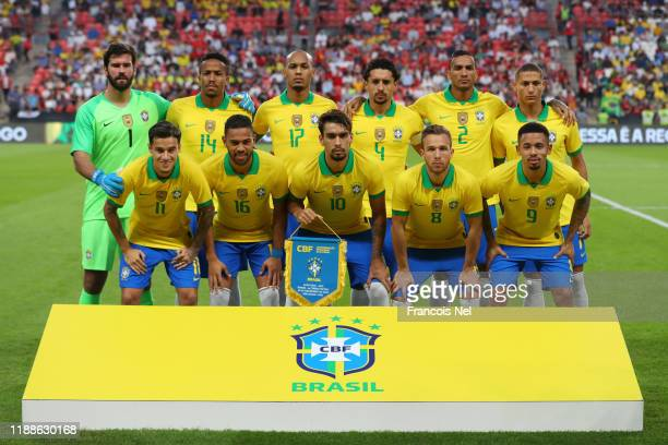 Brazil pose for a team photograph ahead of the International Friendly match between Brazil and Korea Republic at Mohammed bin Zayed Stadium on...
