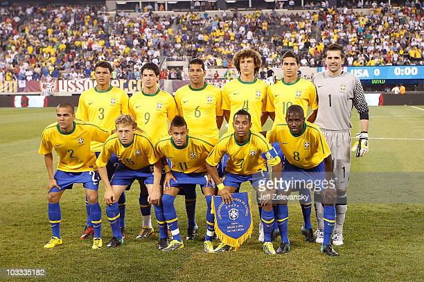 Brazil pose for a team photograph before a friendly match against the US at the New Meadowlands on August 10 2010 in East Rutherford New Jersey