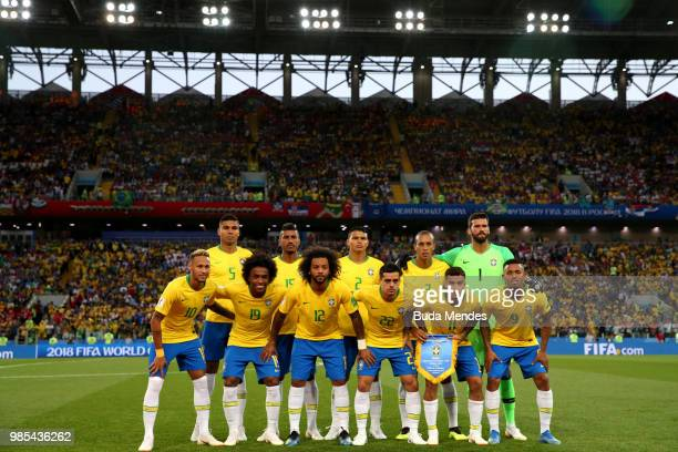 Brazil pose prior to the 2018 FIFA World Cup Russia group E match between Serbia and Brazil at Spartak Stadium on June 27 2018 in Moscow Russia