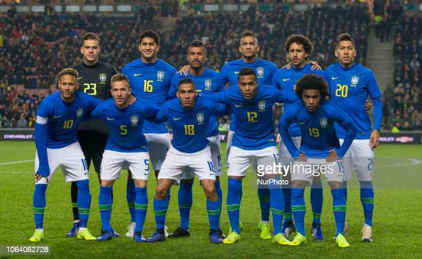 Brazil pre match team photo Goalkeeper Ederson Pablo Paulinho Danilo Marquinhos and Roberto Firmino Neymar Arthur Allan Alex Sandro and Willian of...