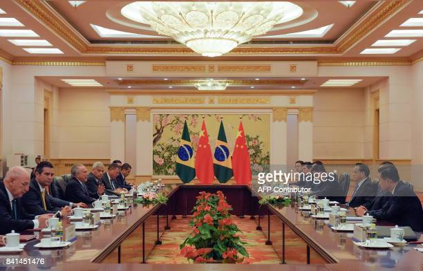 Brazil President Michel Temer speaks during his bilateral meeting with Chinese Premier Li Keqiang in Beijing on September 1, 2017. / AFP PHOTO / POOL...