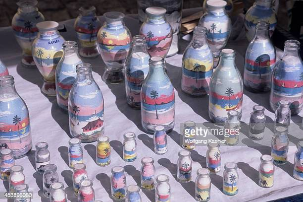 Brazil Recife Souvenier Stands Glass Bottles Filled With Colorful Sands