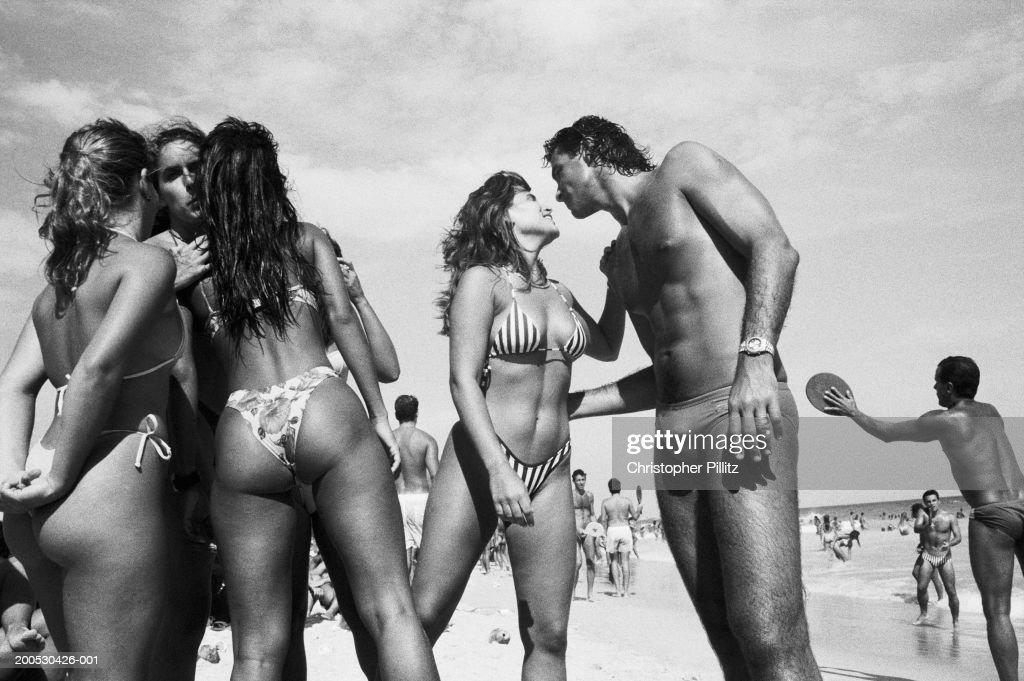 Brazil, Rio de Janeiro, people on beach (B&W) : Stock Photo