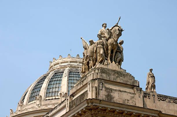 Brazil, Rio de Janeiro, statues on Tiradentes Palace, low angle view
