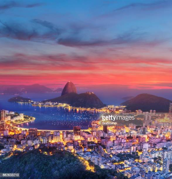 brazil rio de janeiro with sugarloaf and guanabara bay at dawn - brazil stock pictures, royalty-free photos & images