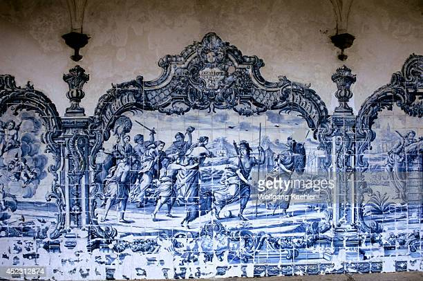 Brazil Salvador De Bahia San Francisco Church Courtyard Portuguese Tiles Closeup