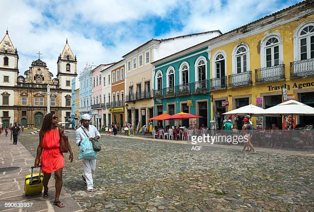 Brazil Salvador people in the the Cruzeiro do St Francisco square
