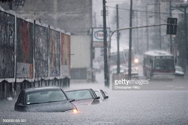 Brazil, Sao Paolo city, cars in flooded street