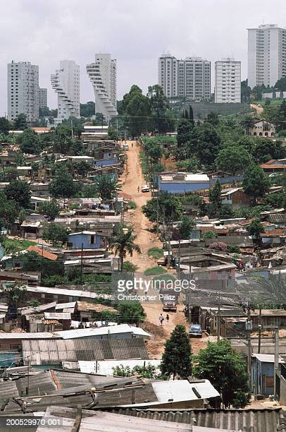Brazil, Sao Paolo, shanty town, elevated view