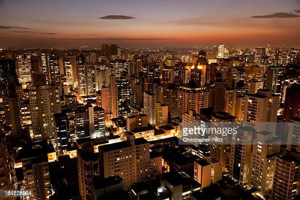 Brazil - Sao Paulo city at nightfall.