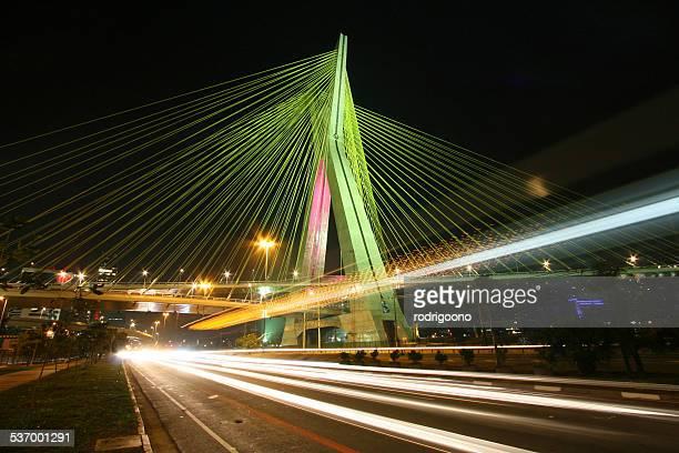 Brazil, Sao Paulo State, Sao Paulo, Octavio Frias de Oliveira bridge at night