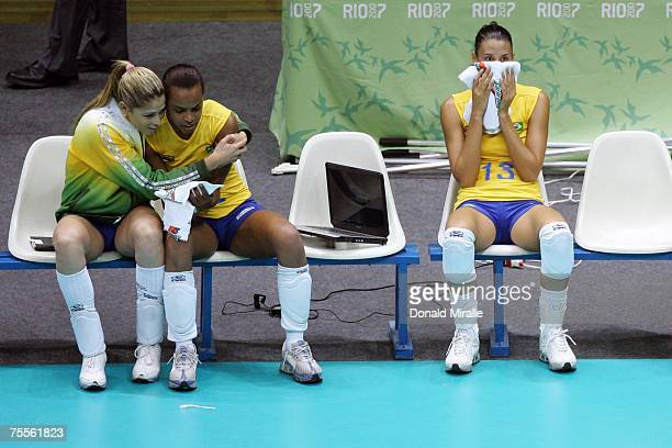 Brazil sits stunned on the bench after losing to Cuba 23 in the Gold Medal Match Women's Indoor Volleyball during the XV Pan American Games on July...