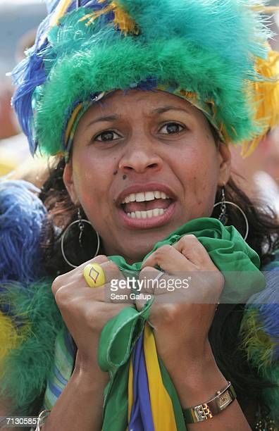 Brazil soccer fan reacts to play during the Round of 16 match against Ghana in the FIFA World Cup 2006 at an open-air public viewing area June 27,...