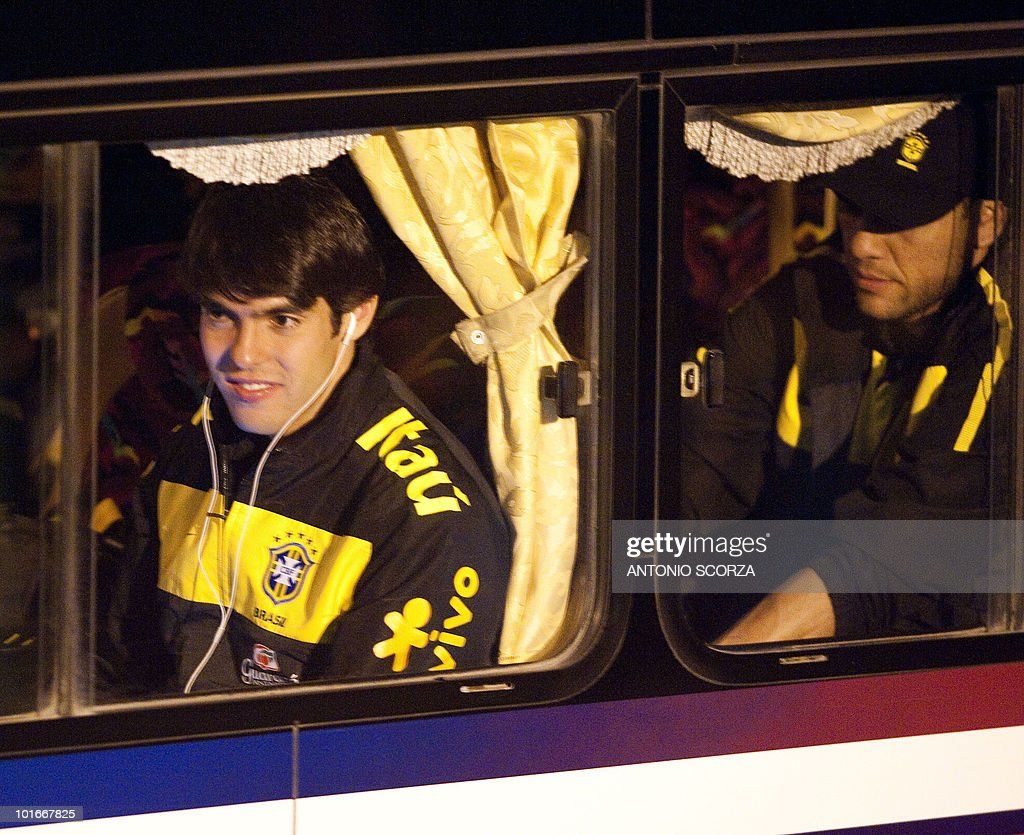 Brazil' soccer striker Kaka (L) looks through the bus' window as he arrives with teammates at Dars El Salam airport to dispute a friendly match against Tanzania, on June 6, 2010 ahead of the 2010 FIFA World Cup held in South Africa.