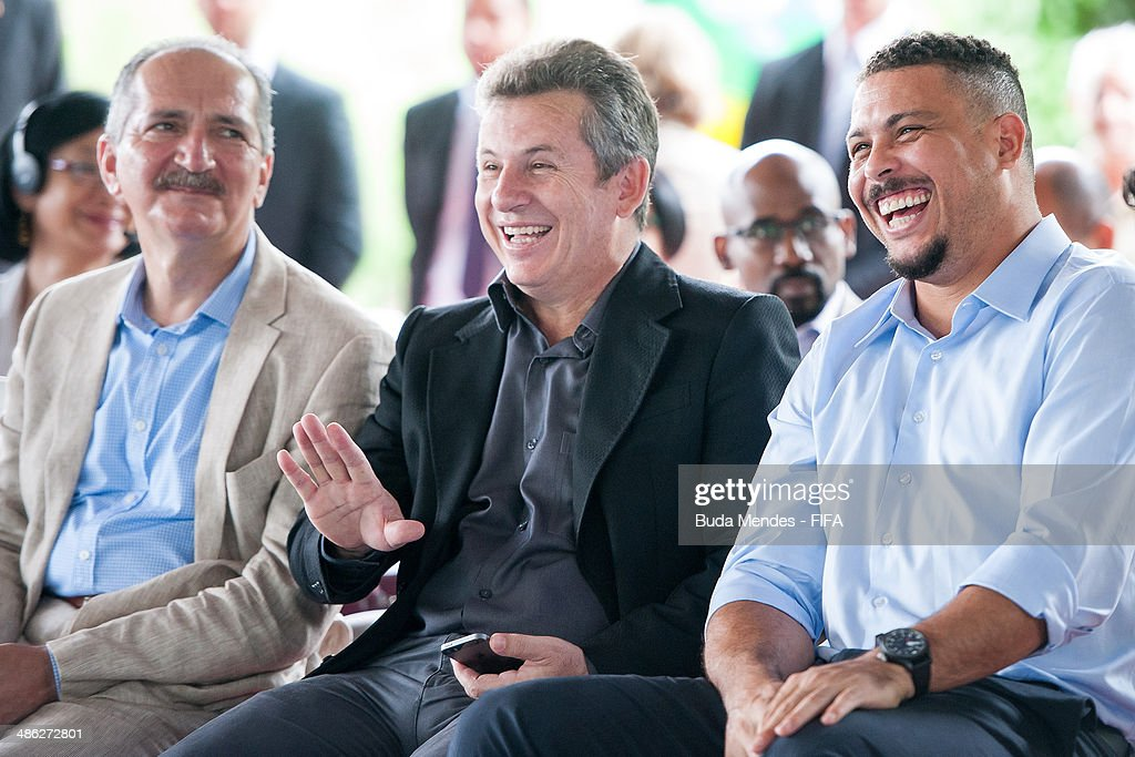 Brazil Sports Minister Aldo Rebelo, LOC Member Ronaldo Luis Nazario and Mayor of Cuiaba Mauro Mendes smile during visit the FIFA 11 for Health Program as part of the 2014 FIFA World Cup Host City Tour on April 23, 2014 in Cuiaba, Brazil