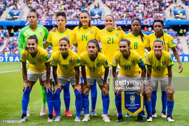 Brazil Squad poses for photos with Goalkeeper Barbara Barbosa, Cristiane Silva, Kathellen Sousa, Monica Alves, Miraildes Mota, Formiga, Ludmila...