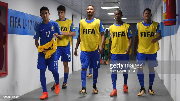 Brazil substitutes make their way to the pitch ahead of the FIFA U17 World Cup India 2017 group D match between Korea DPR and Brazil at the...