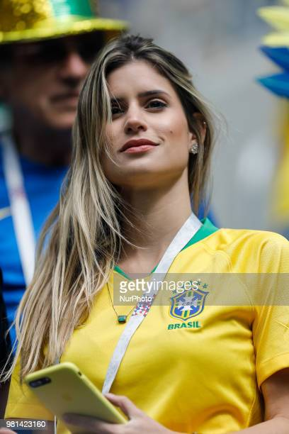 Brazil supporter during the 2018 FIFA World Cup Russia group E match between Brazil and Costa Rica on June 22 2018 at Saint Petersburg Stadium in...