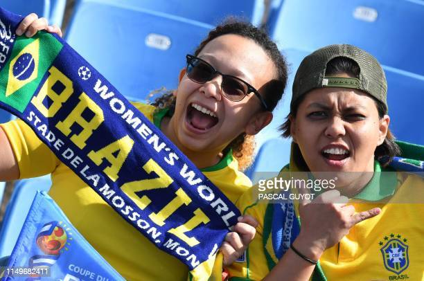 Brazil supporters pose prior to the France 2019 Women's World Cup Group C football match between Australia and Brazil on June 13 at the Mosson...