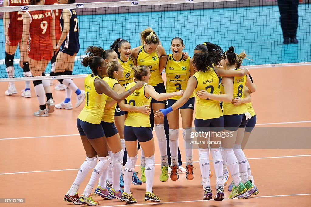 Brazil team celebrate after winning the match against China during day five of the FIVB World Grand Prix Sapporo 2013 match between China and Brazil at Hokkaido Prefectural Sports Center on September 1, 2013 in Sapporo, Hokkaido, Japan.