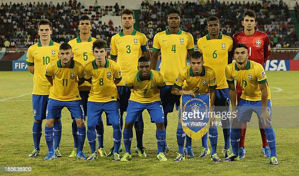Brazil team line up during the Group A FIFA U17 World Cup match between Honduras and Brazil at Ras Al Khaimah Stadium on October 23 2013 in Ras al...
