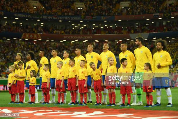 Brazil team line up for national anthem prior to the 2018 FIFA World Cup Russia group E match between Brazil and Switzerland at Rostov Arena on June...