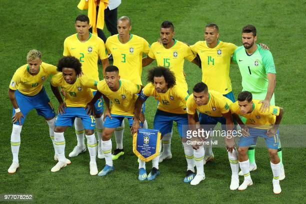 Brazil team lines up prior to the 2018 FIFA World Cup Russia group E match between Brazil and Switzerland at Rostov Arena on June 17 2018 in...