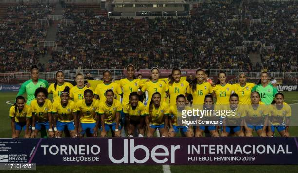 Brazil team players pose for the team photo before a match between Argentina and Brazil part of Uber International Cup 2019 at Pacaembu Stadium on...