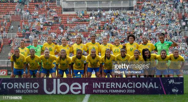 Brazil team players poses before a match between Brazil and Chile for the final match of Uber International Cup 2019 at Pacaembu Stadium on September...