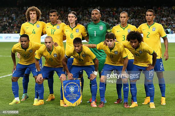 Brazil team pose for photo during Super Clasico de las Americas between Argentina and Brazil at Beijing National Stadium on October 11 2014 in...