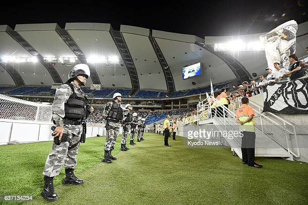NATAL Brazil The tightlyguarded Arena das Dunas soccer stadium in Natal eastern Brazil is seen on May 3 2014 during a match between local club teams...