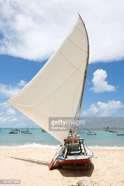 ブラジル、南国のビーチ。jangada ます。 - セアラ州 ストックフォトと画像