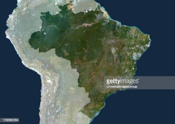 Brazil true colour satellite image with mask This image was compiled from data acquired by LANDSAT 5 7 satellites Brazil True Colour Satellite Image...