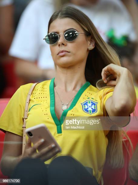 Brazil WAG's are seen during the 2018 FIFA World Cup Russia group E match between Serbia and Brazil at Spartak Stadium on June 27 2018 in Moscow...