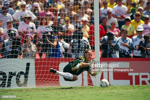 Brazilan goalkeeper Taffarel during the penalty shootout of the 1994 FIFA World Cup final