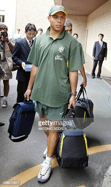 Brazilian ace striker Ronaldo Nazario leaves 22 June 2002 the Grand Hotel in Hamamatsu Brazil will face 26 June in Saitama the winner of Senegal vs...