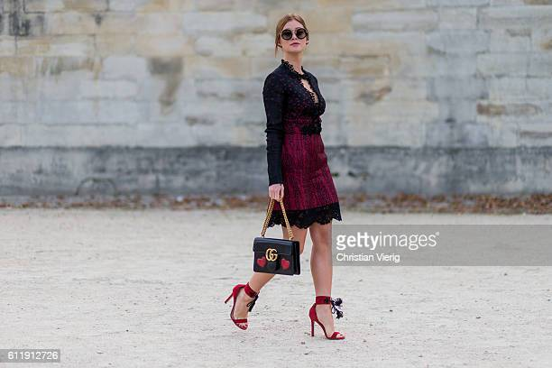 Brazilian Acress Marina Ruy Barbosa outside Elie Saab on October 1 2016 in Paris France