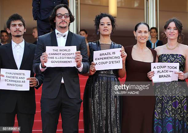 Brazilian actor Pedro Queiroz Brazilian actor Allan Souza Brazilian actress Maeve Jinkings Brazilian actress Sonia Braga and FrenchBrazilian producer...
