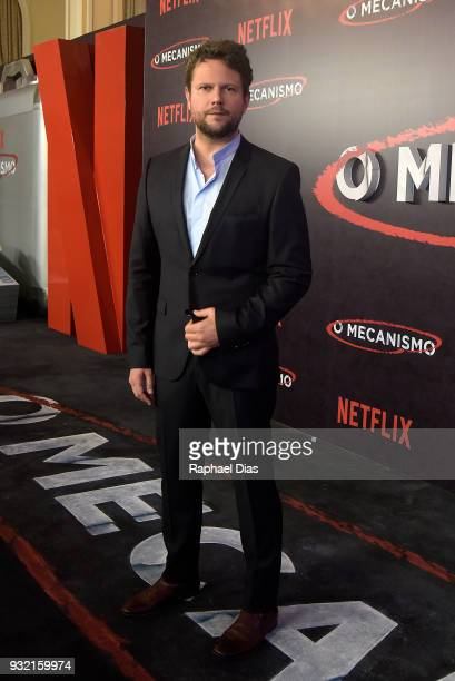 Brazilian actor Selton Mello poses during the red carpet for the new Netflix series O Mecanismo at Belmond Copacabana Palace Hotel on March 14 2018...