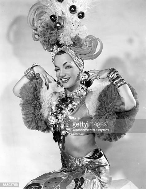 Brazilian actress and singer Carmen Miranda poses in costume for a studio publicity photo in New York ca 1940