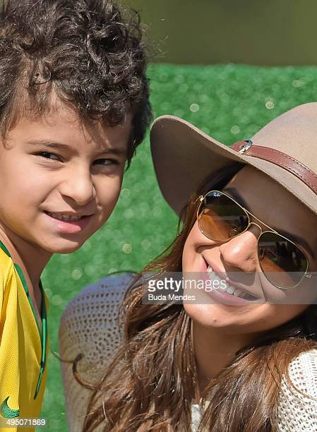 Brazilian actress Bruna Marquezine girlfriend of Brazilian player Neymar watches the training session of the Brazilian national football team at the...