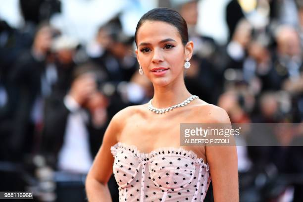 Brazilian actress Bruna Marquezine poses as she arrives on May 13 2018 for the screening of the film 'Sink Or Swim ' at the 71st edition of the...