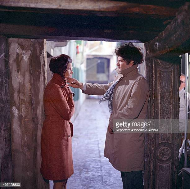 Brazilian actress Florinda Bolkan and American actor Tony Musante looking into each other eyes in a scene from the film The Anonymous Venetian Venice...