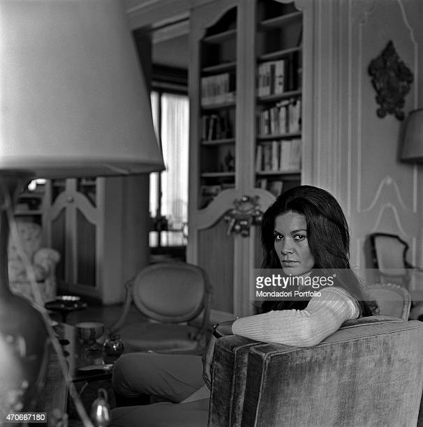 Brazilian actress Florinda Bolkan Florinda Soares BulcÆo's stage name looks at the camera sitting on the sofa in the living room of her house after...