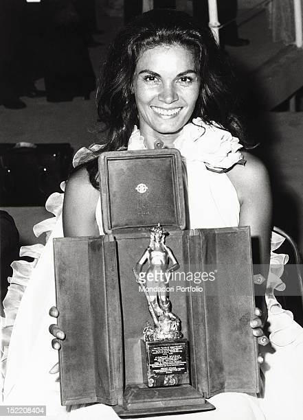Brazilian actress Florinda Bolkan receiving the David di Donatello award for her performance in the film 'Dear Parents' Taormina 1973