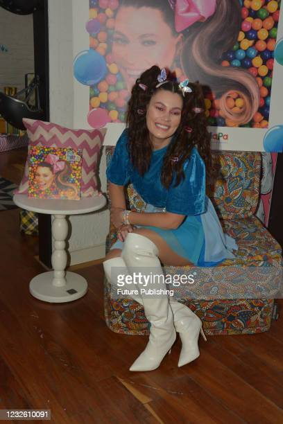 Brazilian actress Natalia Subtil poses for photos during a press conference to launch their latest album The Natty's World 'El Mundo de Natty' as...