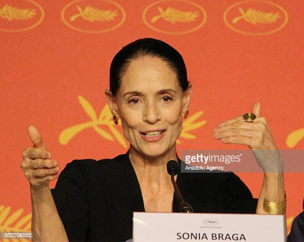 Brazilian actress Sonia Braga attends a press conference for 'Aquarius' during the 69th annual Cannes Film Festival in Cannes France 18 May 2016