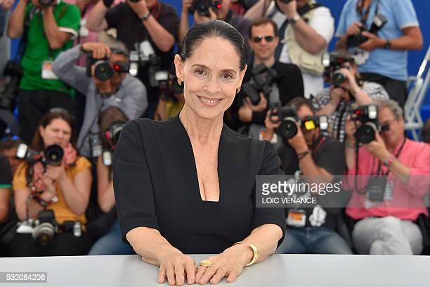 Brazilian actress Sonia Braga poses on May 18 2016 during a photocall for the film 'Aquarius' at the 69th Cannes Film Festival in Cannes southern...